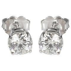 GIA Certified Diamond Stud Earring in 14K White Gold G-H VVS1VVS2 1.13 Carat
