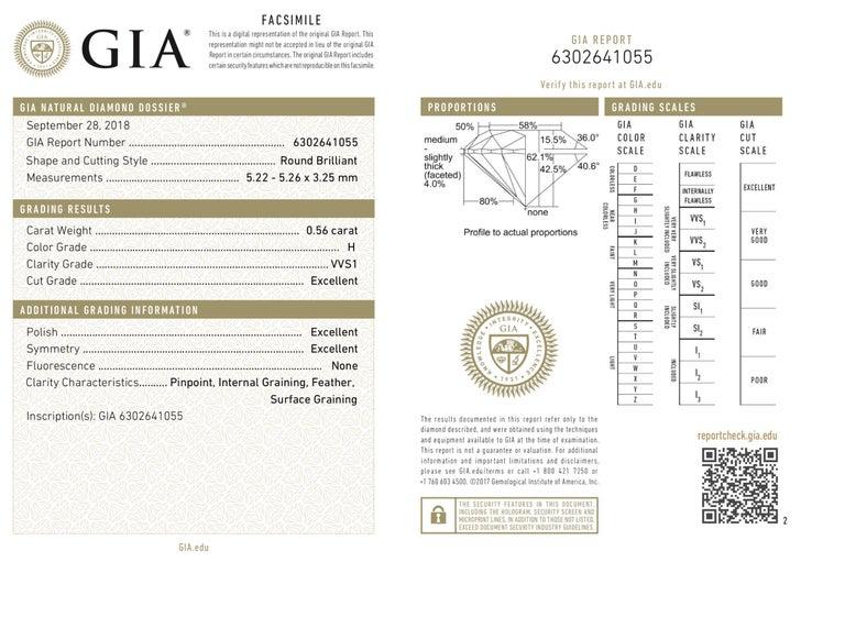Round Cut GIA Certified Diamond Stud Earring in 14K White Gold G-H VVS1VVS2 1.13 Carat