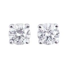GIA Certified Diamond Stud Earrings 0.82 Carat Total Carat F/VS1