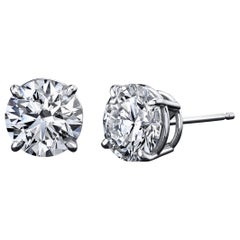 GIA Certified Diamond Stud Earrings 1.40 Carat 18 Karat White Gold 4-Prong