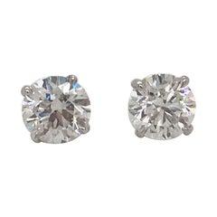 GIA Certified Diamond Stud Earrings 1.40 Carat H-I VS2-SI1