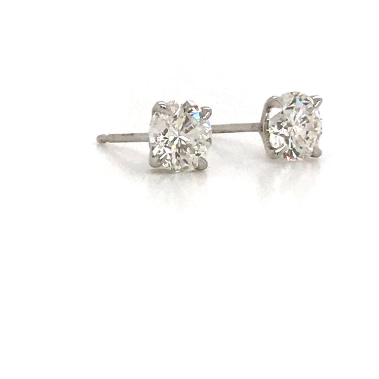 Contemporary GIA Certified Diamond Stud Earrings 1.40 Carat E SI1-SI2 For Sale