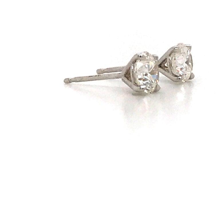 Round Cut GIA Certified Diamond Stud Earrings 1.40 Carat E SI1-SI2 For Sale