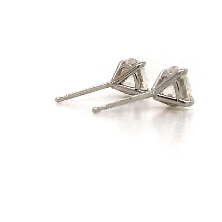 Women's or Men's GIA Certified Diamond Stud Earrings 1.40 Carat E SI1-SI2 For Sale