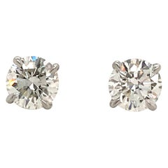 GIA Certified Diamond Stud Earrings 1.40 Carat E SI1-SI2
