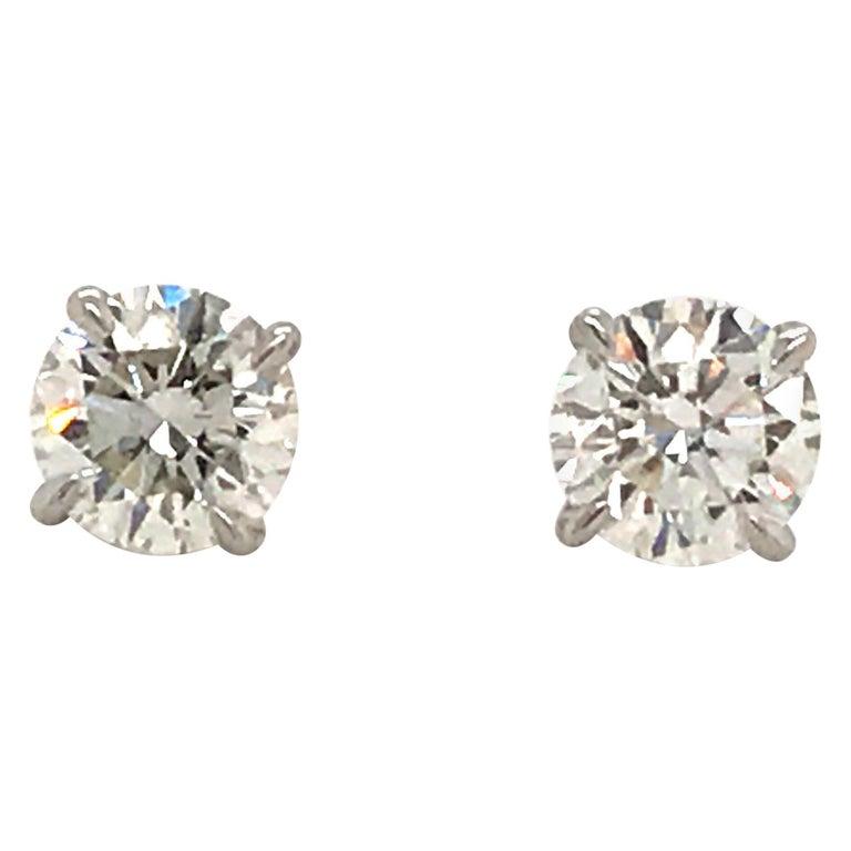 GIA Certified Diamond Stud Earrings 1.40 Carat E SI1-SI2 For Sale
