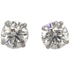 GIA Certified Diamond Stud Earrings 2.01 Carat F SI2