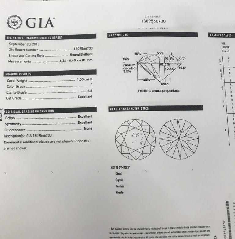 GIA Certified Diamond Stud Earrings 2.01 Carat F SI2 For Sale 3