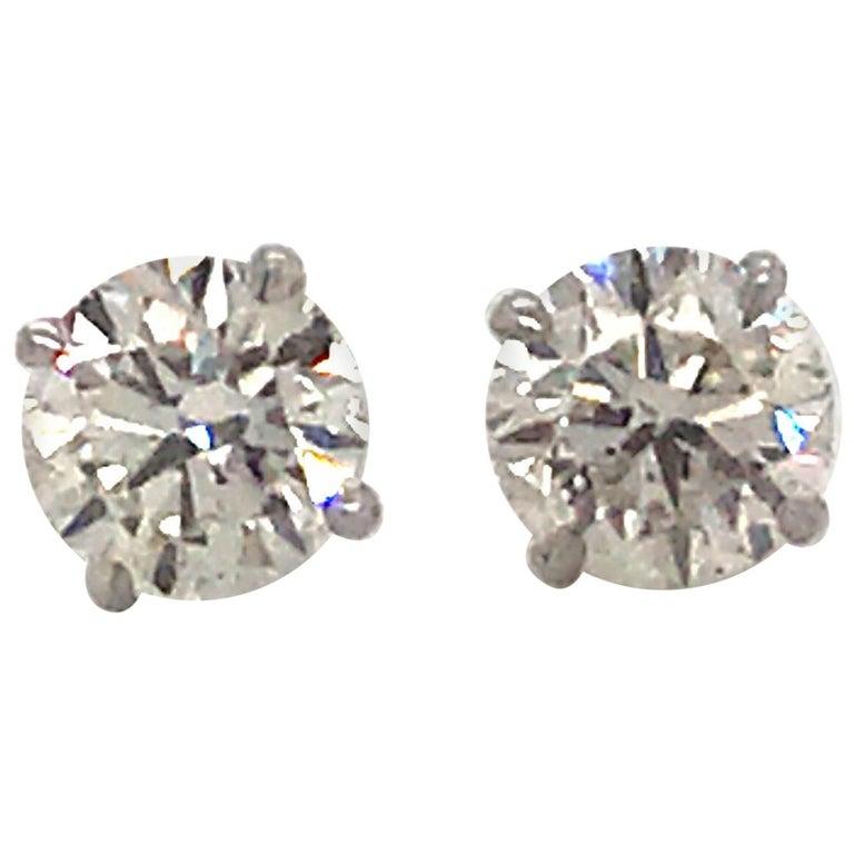 GIA Certified Diamond Stud Earrings 2.02 Carats 18 Karat White Gold For Sale