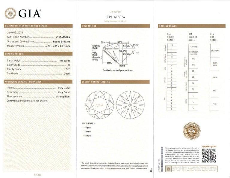 GIA Certified Diamond Stud Earrings 2.02 Carats 18 Karat White Gold For Sale 4