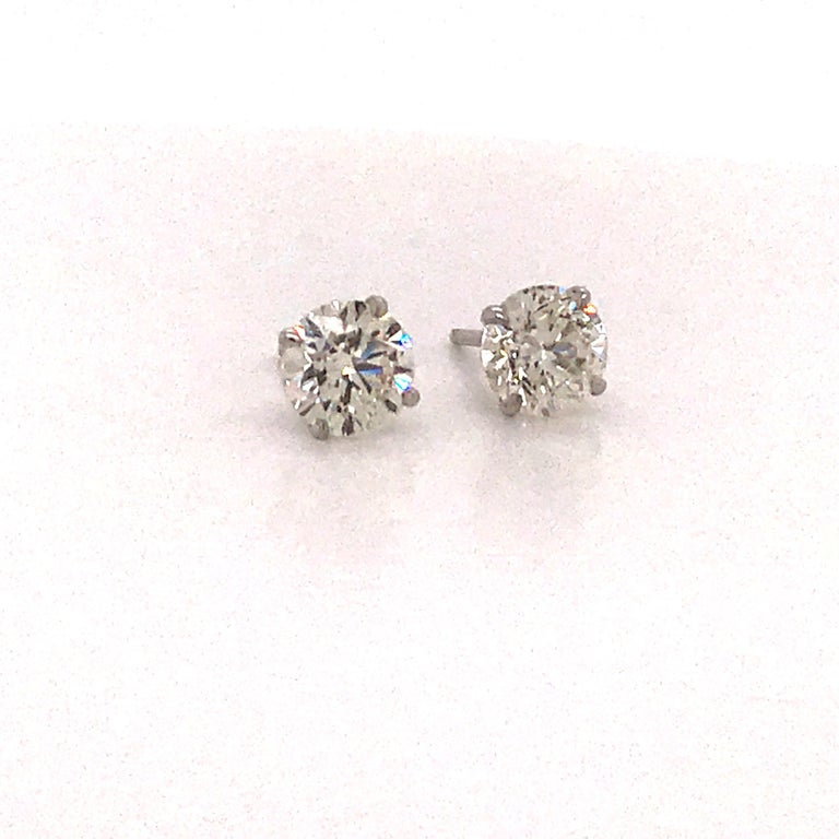 Contemporary GIA Certified Diamond Stud Earrings 2.02 Carats 18 Karat White Gold For Sale