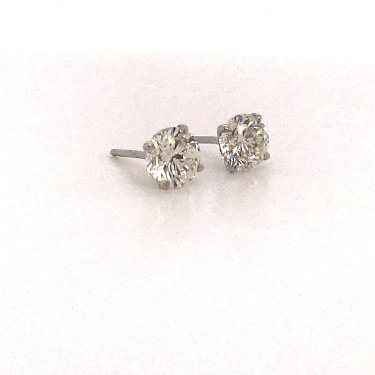 Round Cut GIA Certified Diamond Stud Earrings 2.02 Carats 18 Karat White Gold For Sale