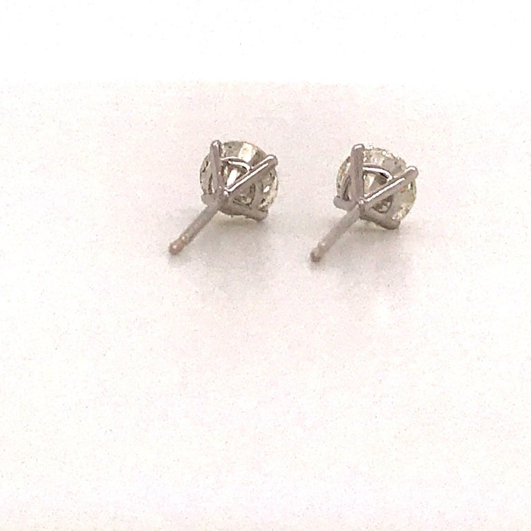 GIA Certified Diamond Stud Earrings 2.02 Carats 18 Karat White Gold For Sale 2