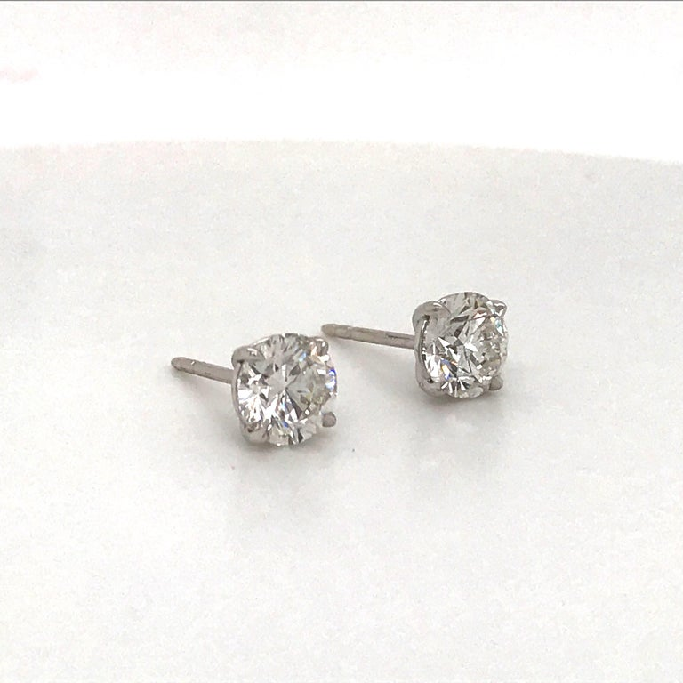 Contemporary GIA Certified Diamond Stud Earrings 2.04 Carat G I1 18 Karat White Gold For Sale