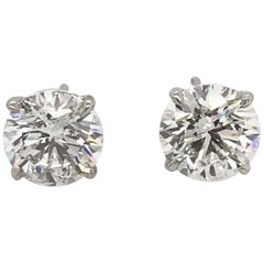 GIA Certified Diamond Stud Earrings 2.54 Carat E-F I1 18 Karat White Gold