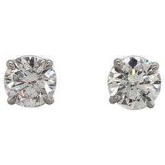 GIA Certified Diamond Stud Earrings 2.66 Carat H SI2-I1 14 Karat White
