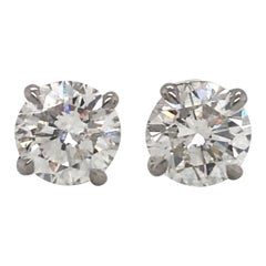 GIA Certified Diamond Stud Earrings 2.79 Carat G I1 18 Karat White Gold