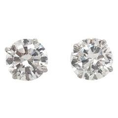 GIA Certified Diamond Stud Earrings 2.82 Carat H SI2-I1 18 Karat White Gold