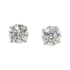 GIA Certified Diamond Stud Earrings 2.89 Carat G-H I1-I2 18 Karat White Gold
