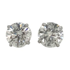GIA Certified Diamond Stud Earrings 3.08 Carat I-J I1 18 Karat White Gold