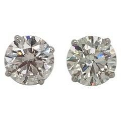 GIA Certified Diamond Stud Earrings 3.58 Carat H-I SI2-I1 18 Karat White Gold