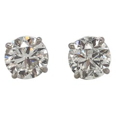 GIA Certified Diamond Stud Earrings 4.04 Carat J I1 14 Karat White Gold