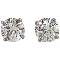 GIA Certified Diamond Stud Earrings 4.05 Carat G-H I1 18 Karat White Gold