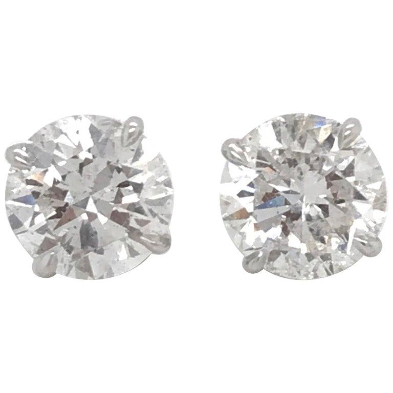 GIA Certified Diamond Stud Earrings 4.71 Carat E-F