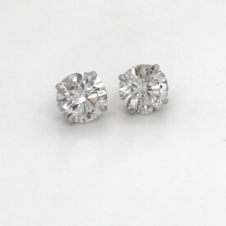 Contemporary GIA Certified Diamond Stud Earrings 4.71 Carat E-F