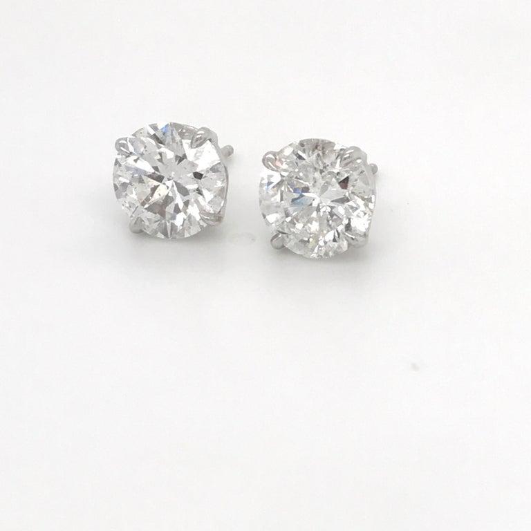 Round Cut GIA Certified Diamond Stud Earrings 4.71 Carat E-F