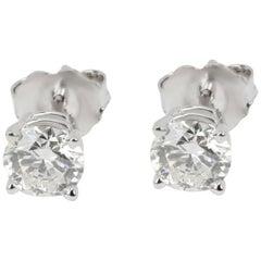 GIA Certified Diamond Stud Earrings in 14 Karat White Gold 1.01 Carat