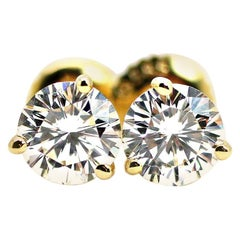 GIA Certified Diamond Studs 1.04 Carat Set in 14k Yg Setting with Screw Backs
