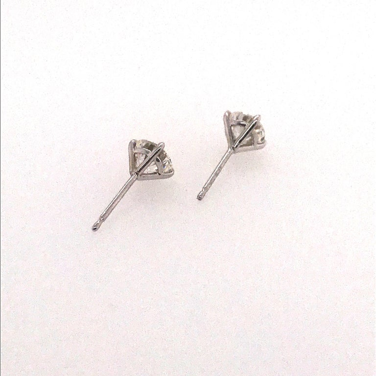 GIA Certified Diamond Studs 1.40 Carat H-I VS2-SI1 14K White Gold  In New Condition For Sale In New York, NY