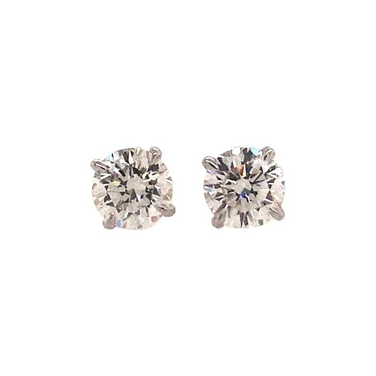 GIA Certified Diamond Studs 1.40 Carat H-I VS2-SI1 14K White Gold  For Sale