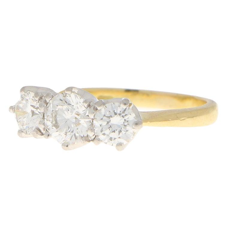 Modern GIA Certified Diamond Three-Stone Engagement Ring Set in 18 Karat Yellow Gold For Sale