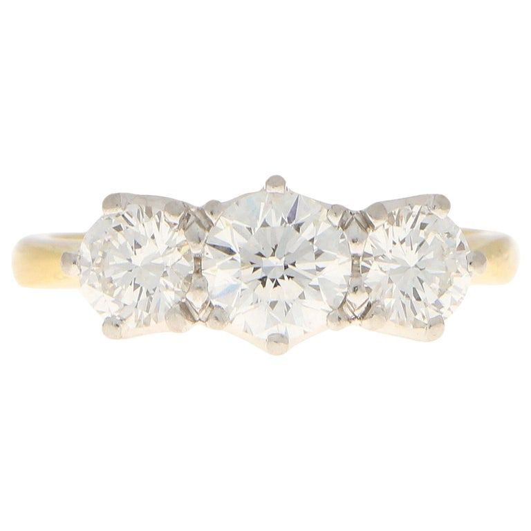 GIA Certified Diamond Three-Stone Engagement Ring Set in 18 Karat Yellow Gold For Sale