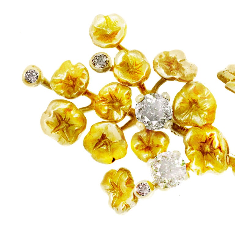 Round Cut GIA Certified Diamonds, 18 Karat Yellow Gold Heliotrope Brooch by the Artist For Sale