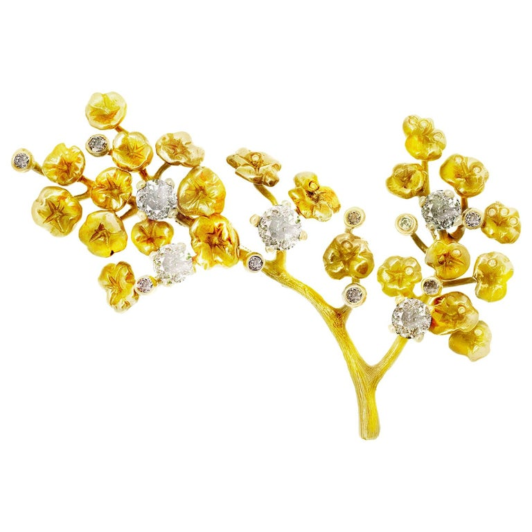 GIA Certified Diamonds, 18 Karat Yellow Gold Heliotrope Brooch by the Artist For Sale