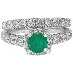 GIA Certified 1.80 Carat Double Band Emerald Diamond Ring Set