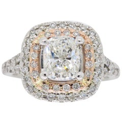 GIA Certified Double Halo Diamond Engagement Ring