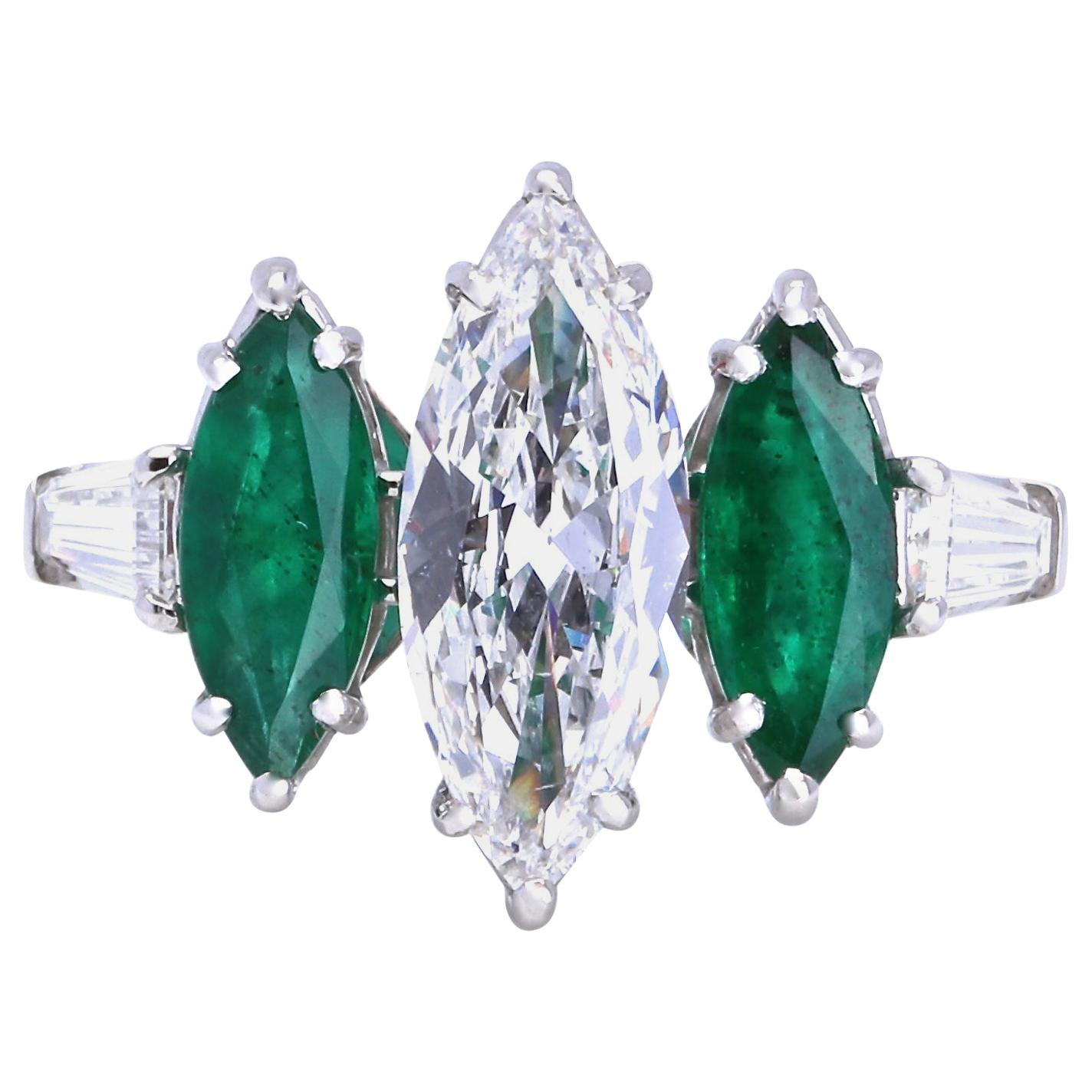 GIA Certified E Color 1.56 Carat Marquise Cut Diamond Emerald Platinum Ring