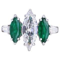 GIA Certified E Color 1.56 Carat Marquise Cut Diamond Emerald Platinum Ring