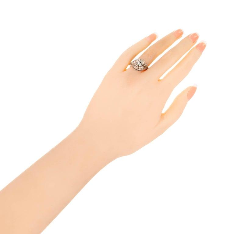 Old European Cut GIA Certified Edwardian Old European Rose Cut Diamond Platinum Engagement Ring For Sale