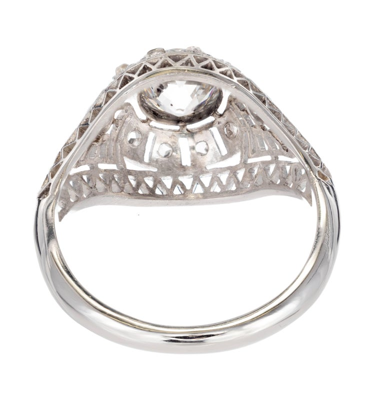 Women's GIA Certified Edwardian Old European Rose Cut Diamond Platinum Engagement Ring For Sale