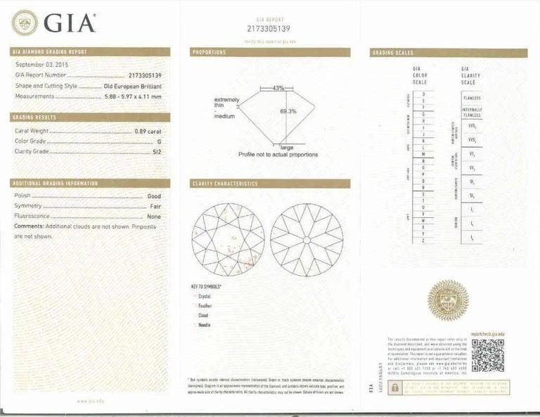 GIA Certified Edwardian Old European Rose Cut Diamond Platinum Engagement Ring For Sale 1