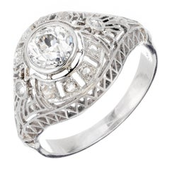 GIA Certified Edwardian Old European Rose Cut Diamond Platinum Engagement Ring