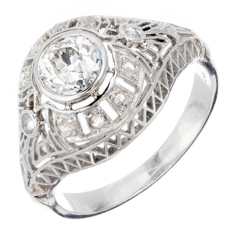 GIA Certified Edwardian Old European Rose Cut Diamond Platinum Engagement Ring For Sale