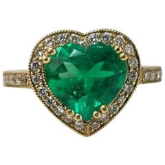 GIA Certified Emerald 18 Karat Yellow Gold Heart Shape Emerald Diamond Halo Ring