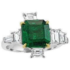 GIA Certified Emerald 3.50 Carat Diamond Asymmetrical Fashion Cocktail Gold Ring