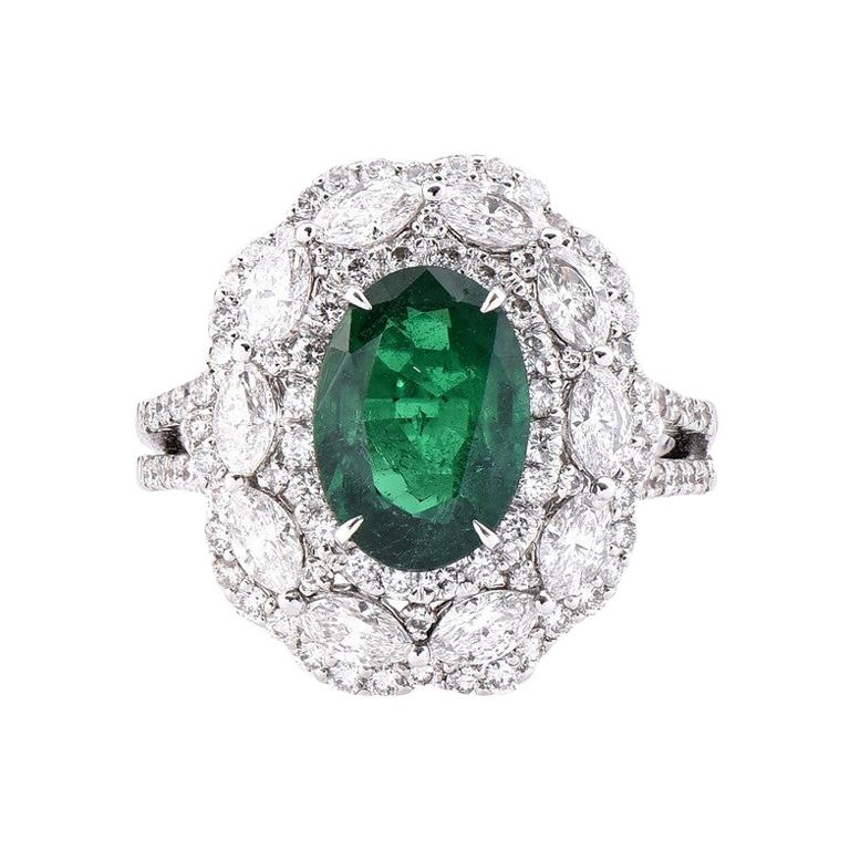 GIA Certified Emerald and Diamond Cocktail Ring